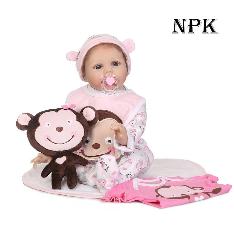 Barbie doll 55cm Lovely Soft Silicone 3D Lifelike Simulation Reborn Baby Doll Kids Playmate Cloth Doll Toys Gifts american girl 40cm 3d princess girl doll cute lifelike simulation reborn baby doll soft silicone kids playmate cloth doll toys birthday gift