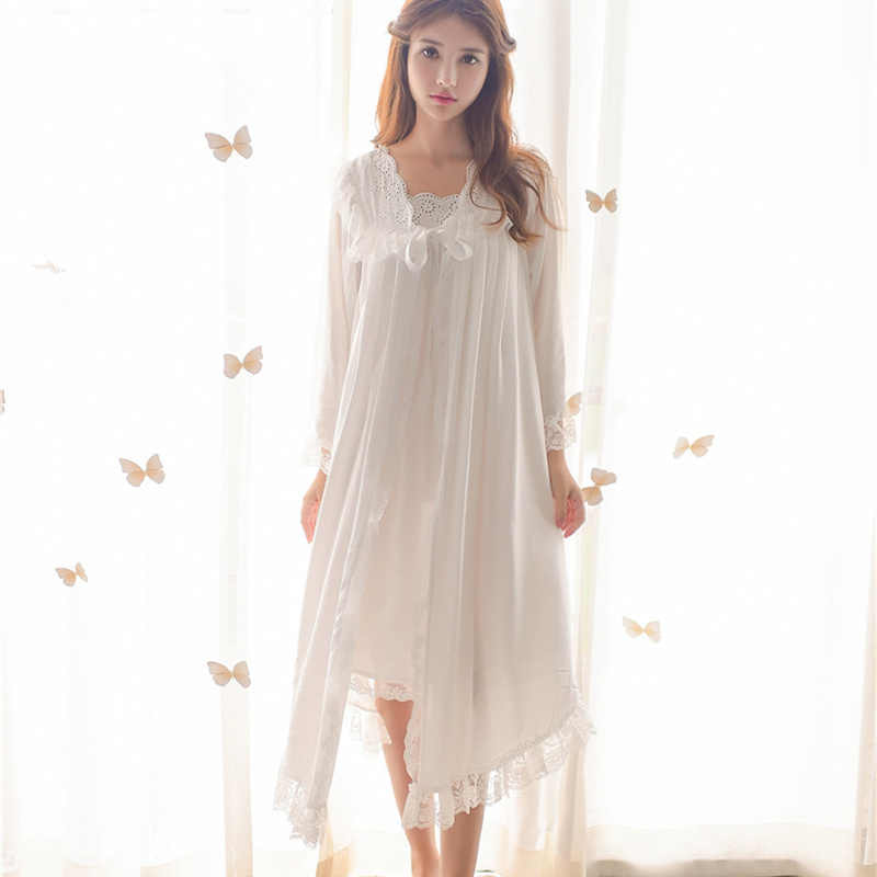 ever popular timeless design reputable site Two 2 Pieces Sleepwear Autumn Women Robe Gown Sets Lace Nightdress Bathrobe  Negligee Set Home Wear Elegant Peignoir Set T286