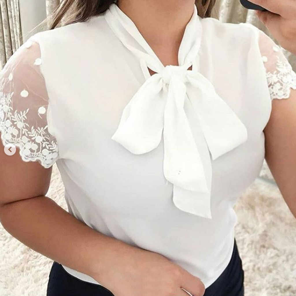 Summer Fashion Casual Office Lace Tops Bow Tie Blouse Chiffon OL Top Female Women's Short Sleeve Shirt Blusas Femininas Clothing