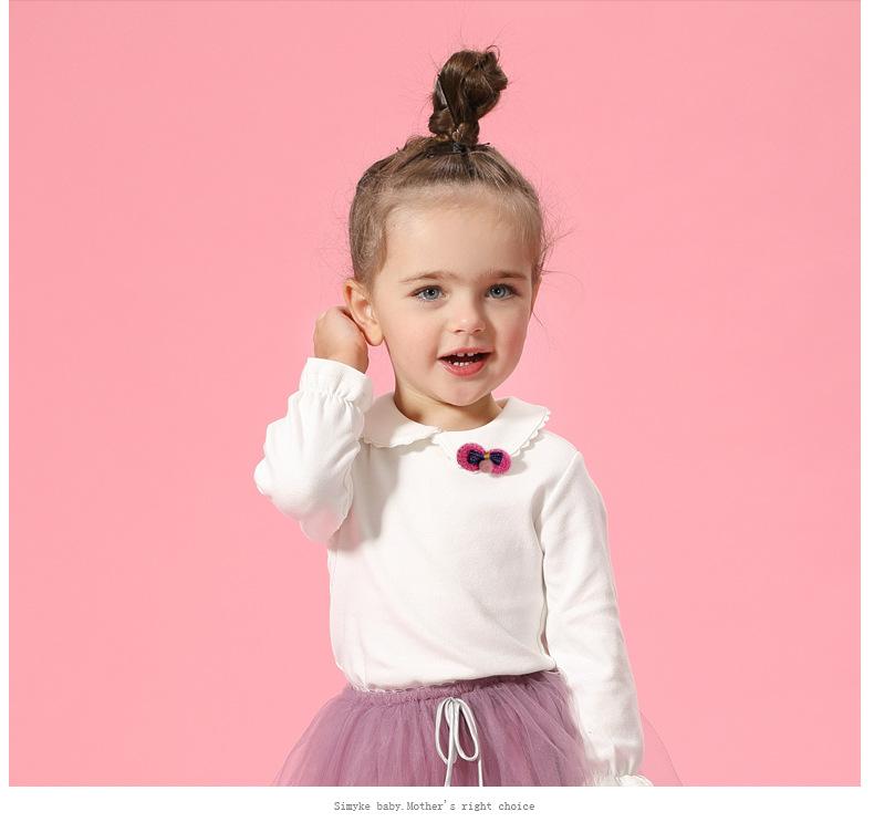 HTB12TXQSpXXXXa5XXXXq6xXFXXXy - Spring and Autumn Baby Girls White Sweatshirt Long-sleeve Blouse for Girl to School in 1-5 Years Kids Clothes with 3D Bow Brand