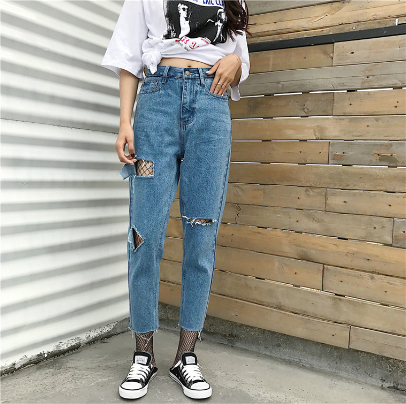 2017 spring new Korean fashion lofty high waist straight light straight jeans nine points jeans women