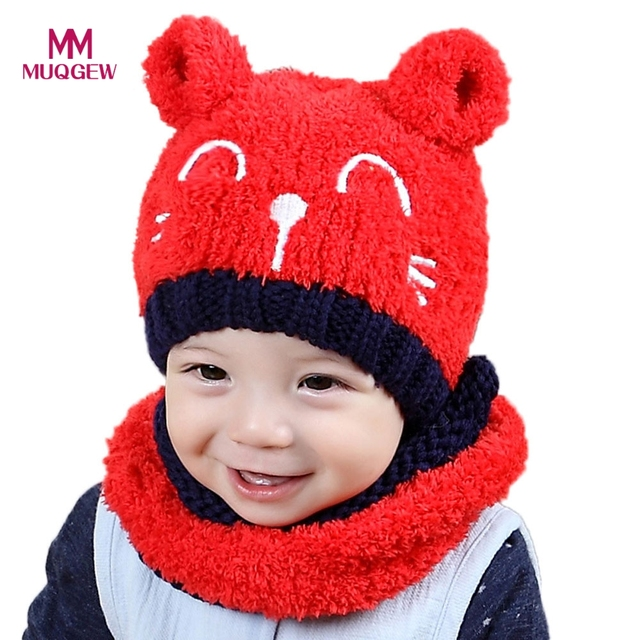 a5785cdad7d Unisex Winter Baby Hat and Scaf Set Cute Cat Crochet Knitted Plush Caps  Earflaps for Boy Girl Children Kids Neck Warmer Skullies