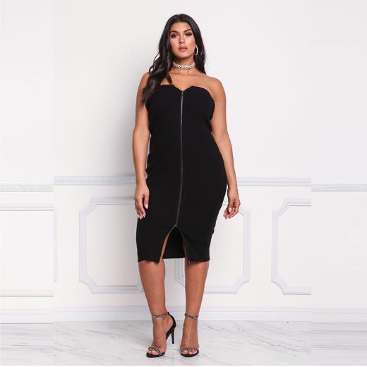 Strapless Black Bodycon Midi Dress