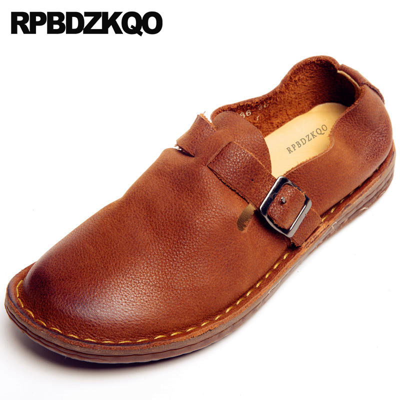 Brown Round Toe 2018 Flats Women Ladies Genuine Leather Driving Elderly Ethnic Traditional Chinese Shoes Handmade China DesignerBrown Round Toe 2018 Flats Women Ladies Genuine Leather Driving Elderly Ethnic Traditional Chinese Shoes Handmade China Designer
