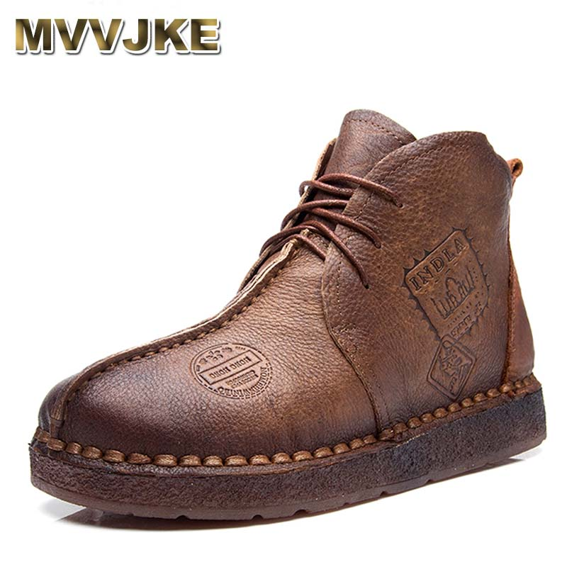 MVVJKE  HOT SALE Shoes Women Retro Boots Handmade Ankle Boots Flat Boots Real Genuine Leather Shoes Women Shoes Plus Size 42 tastabo handmade ankle boots martin flat boots 100% real genuine leather shoes retro winter snow boots botines mujer women shoe