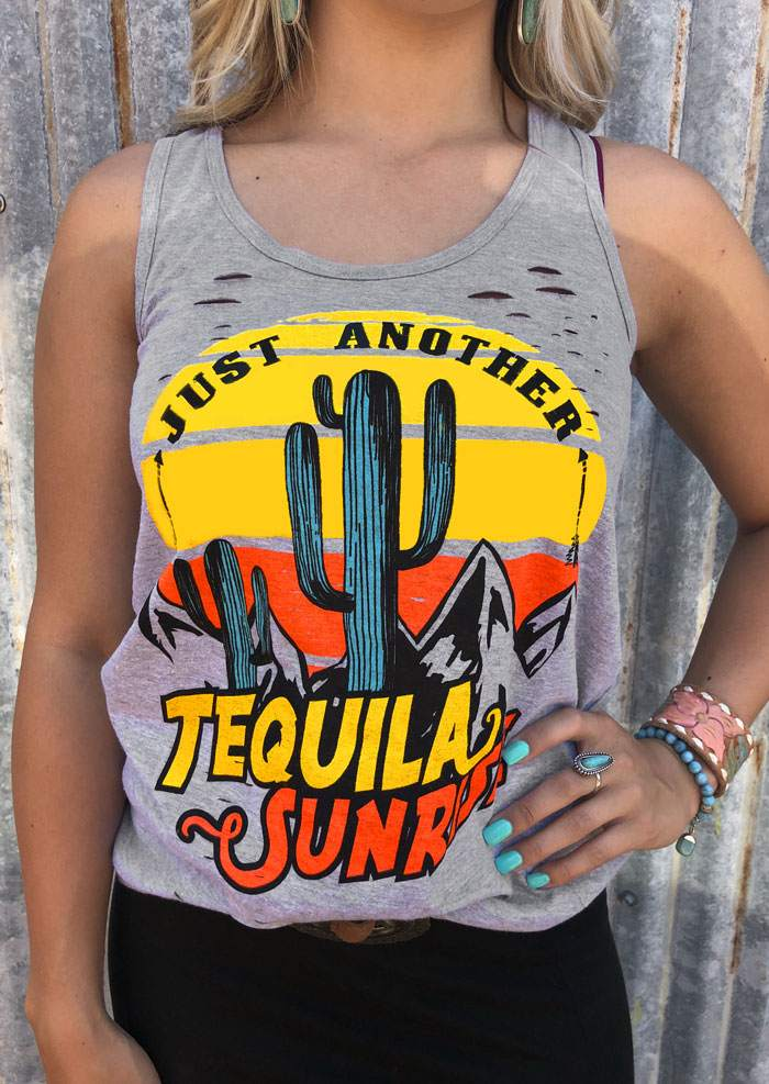 New Women   Tank     Tops   Summer Sleeveless Just Another Tequila Sunrise Print   Tank   Female Casual Fashion Gray   Tank   Femme   Tops   Tee