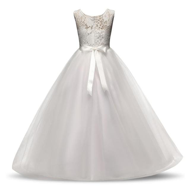 White Wedding Party Princess Christmas Dresses Girl Formal Costume