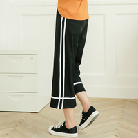 YouG 2018 Summer Newest Style Leisure Pants Loose High Waist Thin Knitted Wide Leg Pants Stripe