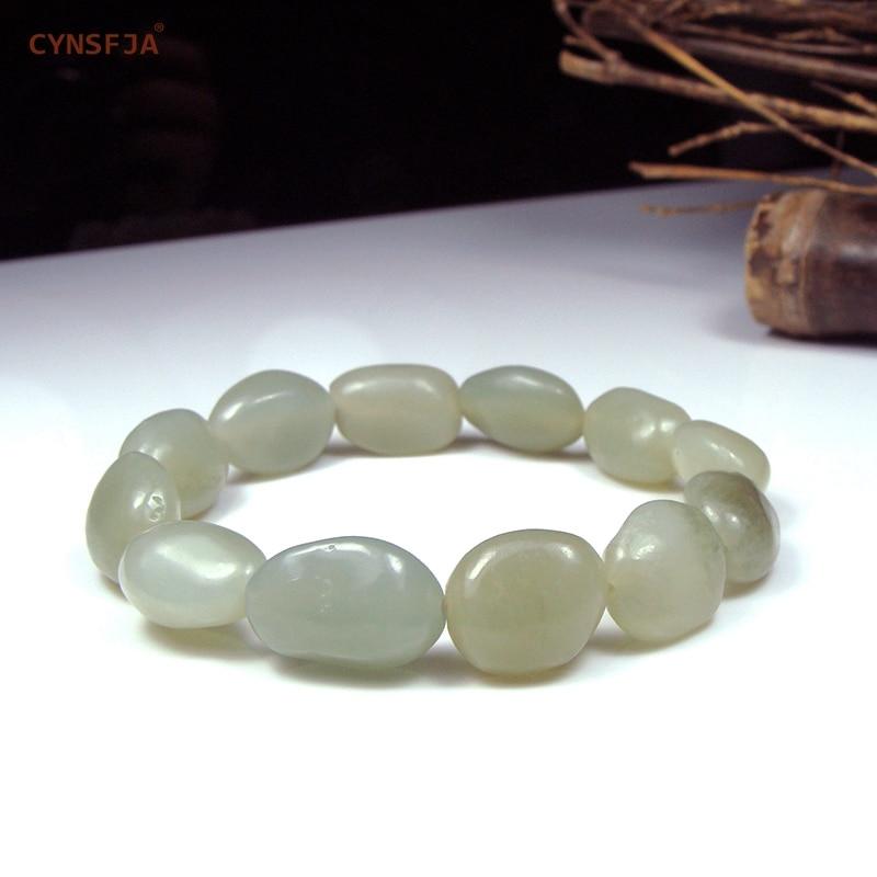 Certificado Natural Hetian Jade Nephrite CYNSFJA Real Charme Amuletos de Jade Pulseira Jóias Finas de Alta Qualidade Presentes Maravilhosos