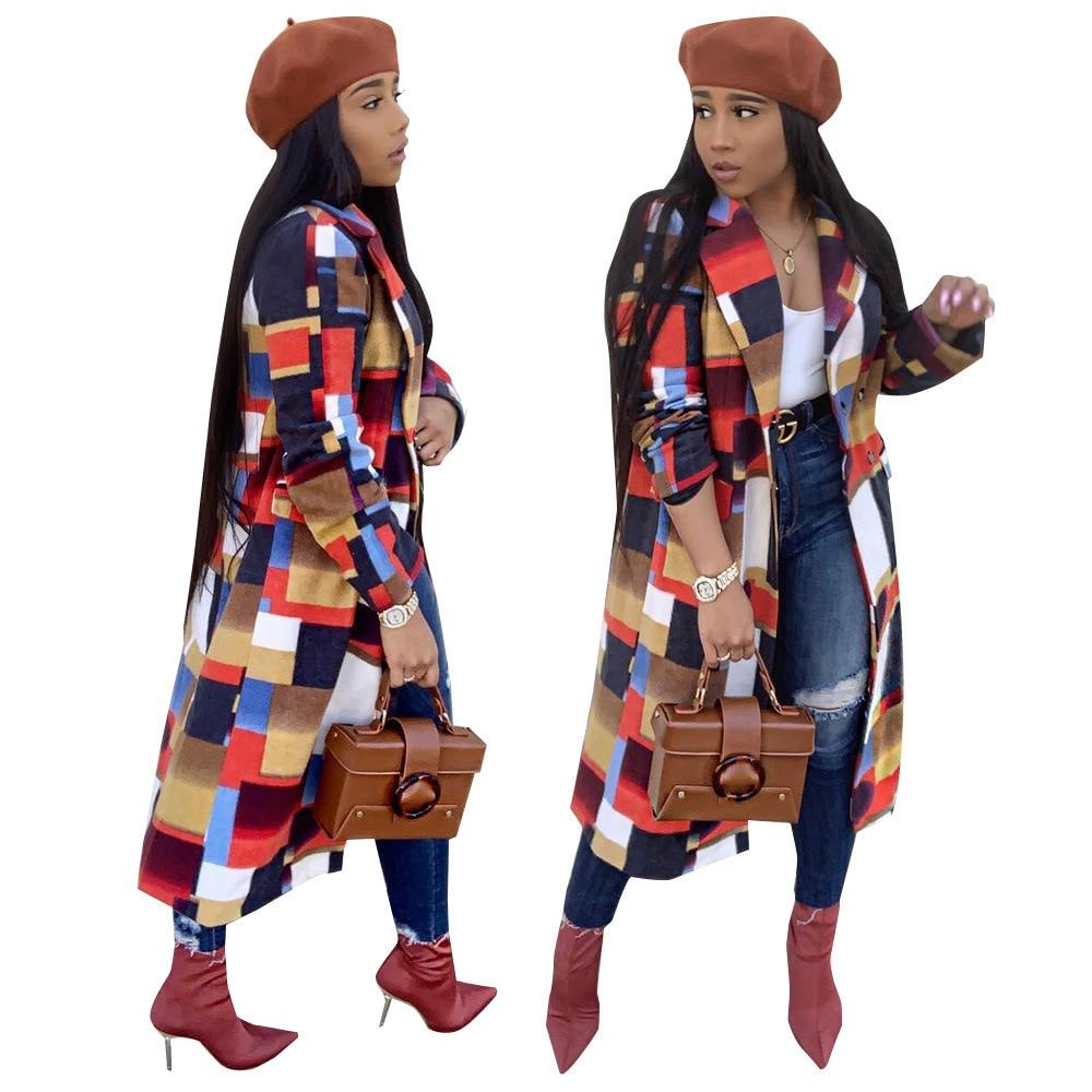 Humor Women Wardrobe Casual Woolen Coat Plaid Patchwork Lapel Long Sleeve Button Pocket Jacket Outwear Ns3498 Durable Service Basic Jackets