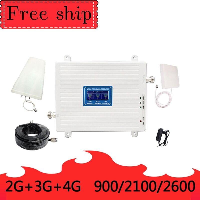 GSM 2G WCDMA 3G LTE 4G 900/2100/2600 MHZ Cell Phone Signal Booster 2G 3G 4G LTE 2600 Repetidor do Impulsionador Do Telefone Celular