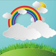 Laeacco Cartoon Blue Sky Clouds Rainbow Sun Baby Party Photography Background Customized Photographic Backdrops For Photo Studio