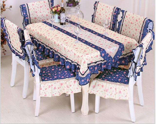 Pastoral Floral Border Printing Tablecloth Set Suit 150*200cm Table Cloth  Matching Chair Cover 1