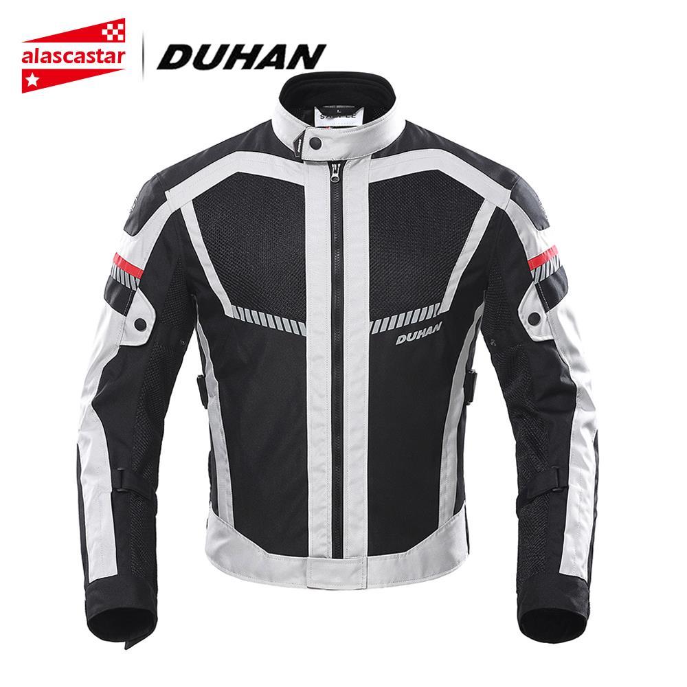 DUHAN Summer Motorcycle Jacket Men Motorbike Jacket Moto Protective Gear Breathable Mesh Reflective Riding Jacket Biker