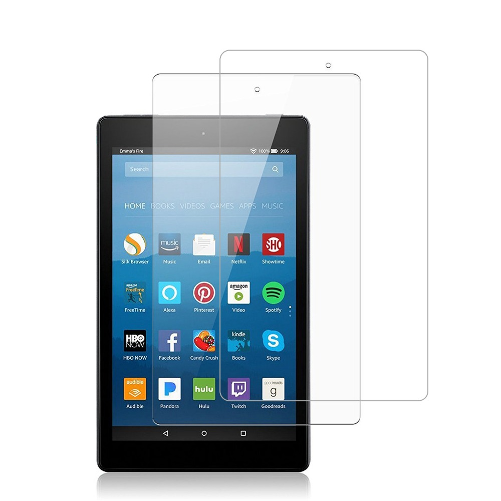 Full-Screen-Protector Tempered-Glass Fire 8-Tablet Amazon 9H 2PCS HD for Transparent
