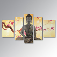 EVERFUN ART 5 panels genuine hand-painted chinese buddha canvas painting with frame