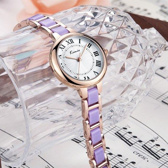 KIMIO Retro Roman Numerals Scale Antique Watches For Women Color Strap Bracelet