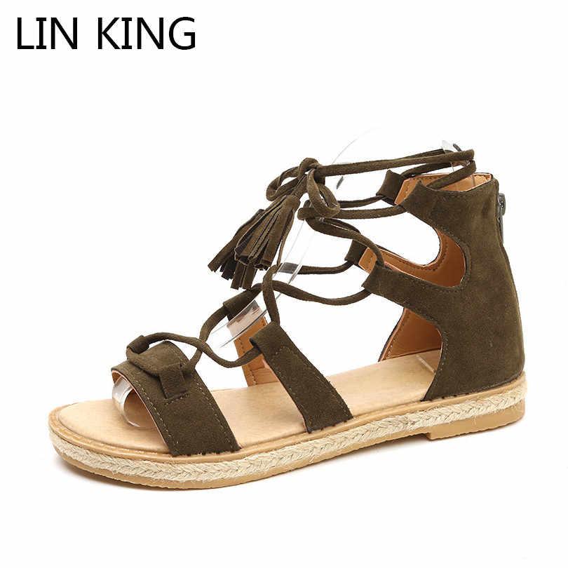 1417405c6 LIN KING Vintage Women Gladiator Sandals Fashion Zipper Street Footwear  Summer Flats Shoes Rome Tassel Anti