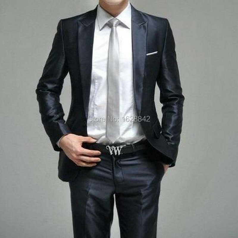 Fashion Bright Black Men Suit 2Pieces Jacket+Pants Single Breasted Wedding Suit For Men Custom Made Slim Fiy Groom Wear