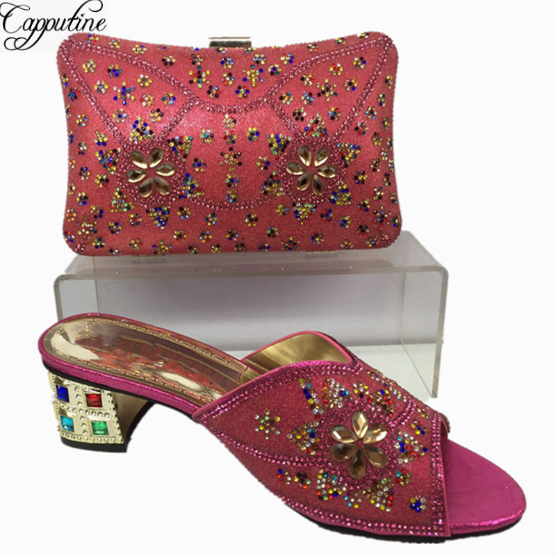 Capputine Summer Style Africa Low Heels Shoes And Bag Set Fashion Woman Slipper Shoes And Bag Set For Party Free Shipping BL555C