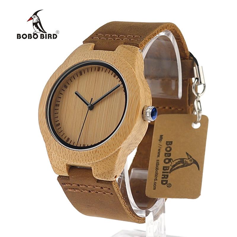 Prix pour Bobo bird lovers robe montres en bois naturel à la main en bois montres cool avec réel en cuir bandes