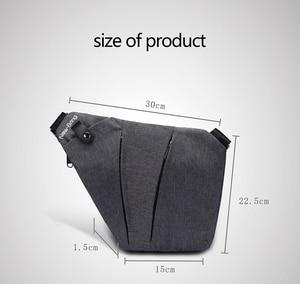 Image 4 - NewBring Black Single Shoulder Bags for Men Waterproof Nylon Crossbody bags Male Anti theft Chest Bag