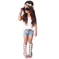 On Sale 2pcs Kids Baby Girls Outfits Set Tank Top T Shirt Dress Jeans Pants Clothes