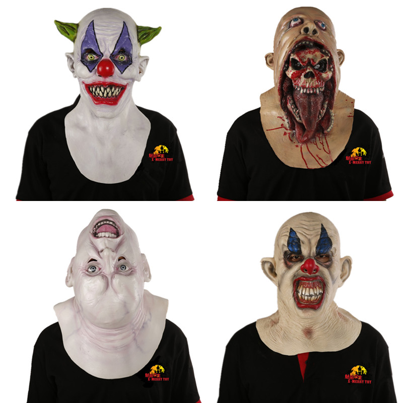 x merry halloween scary latex mask movie full head horror costume mask clown mask theater - Halloween Scary Movies