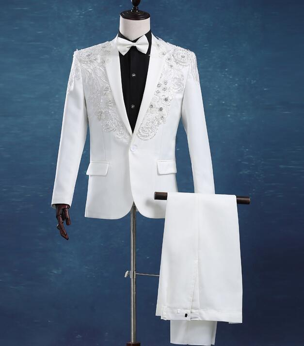 R 29826 24 De Descontopaillette Dos Homens Dos Homens Do Casamento Do Noivo Traje Vestido Formal Masculino Homme Fino Conjunto Terno Branco Terno