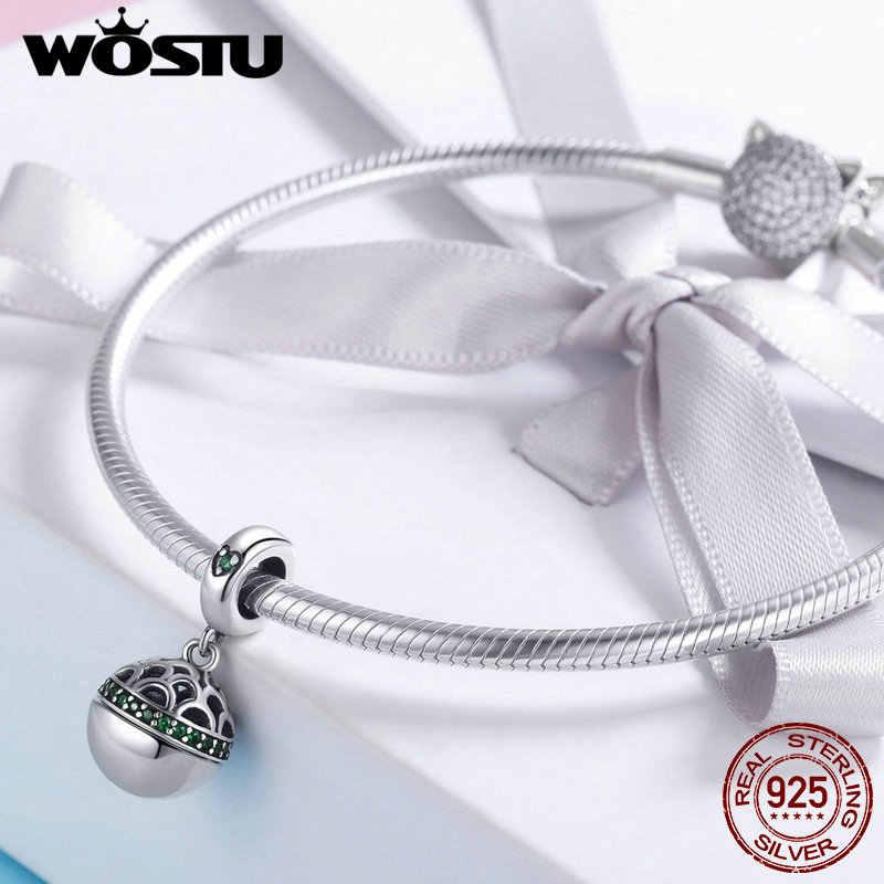 WOSTU, настоящее 925 пробы, серебро, 4 цвета, коробка для любви, Висячие бусины, браслет, ожерелье, подарок для изготовления ювелирных изделий, FIC689