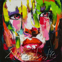 Palette knife portrait Face Oil painting christmas figure canva Hand painted Francoise Nielly wall Art picture231