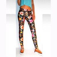 Femmes Élastique Pantalon Leggings 3D Numérique Floral Peinture Motif Imprimer Pantalon Taille Fleur Imprimé Leggings Femmes Mode WL069