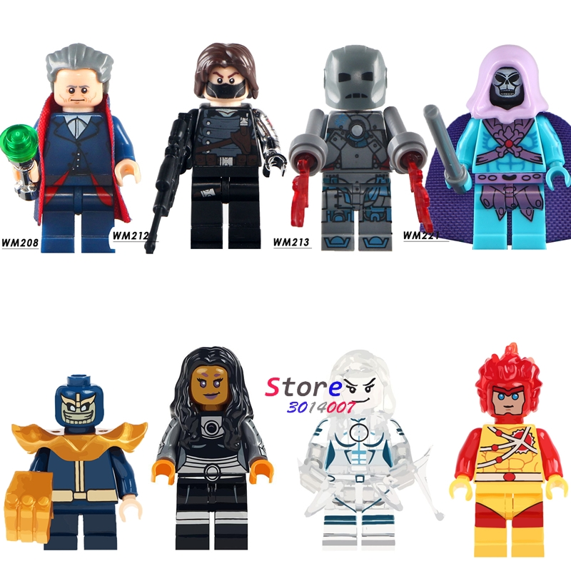 Single skeletor Doctor Who Winter Solider Iron Man Thanos Firestorm Starfire building blocks models bricks toys for children kit super heroes single sale the villain of yellow lantern skeletor heman he man he man building blocks toys for children gift kf921