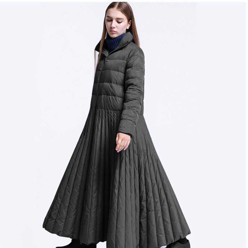 OKXGNZ 2018 nowy unikalny projekt w stylu etnicznym Retro duża huśtawka luźne białe kaczki płaszcz puchowy długie kobiety w dół kurtka Plus rozmiar XS-7XL