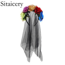 Sitaicery Rose Flower Hairband Headband Hair Hoop for Girls Women Black Mesh Bands Halloween Ghost Bride Party Headdress