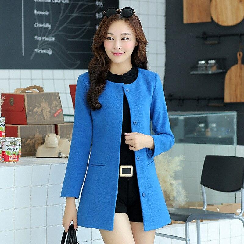 Nice New Autumn Outerwear Caots Dark Buckle Woollen Coat Round Neck Wool Coat Slim womens Coat H82112