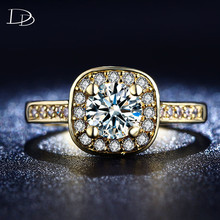 Vintage Wedding Engagement Rings for Women 585 Gold color Jewelry Luxury Ring Square Accessories Crystal crystal Rings HH191