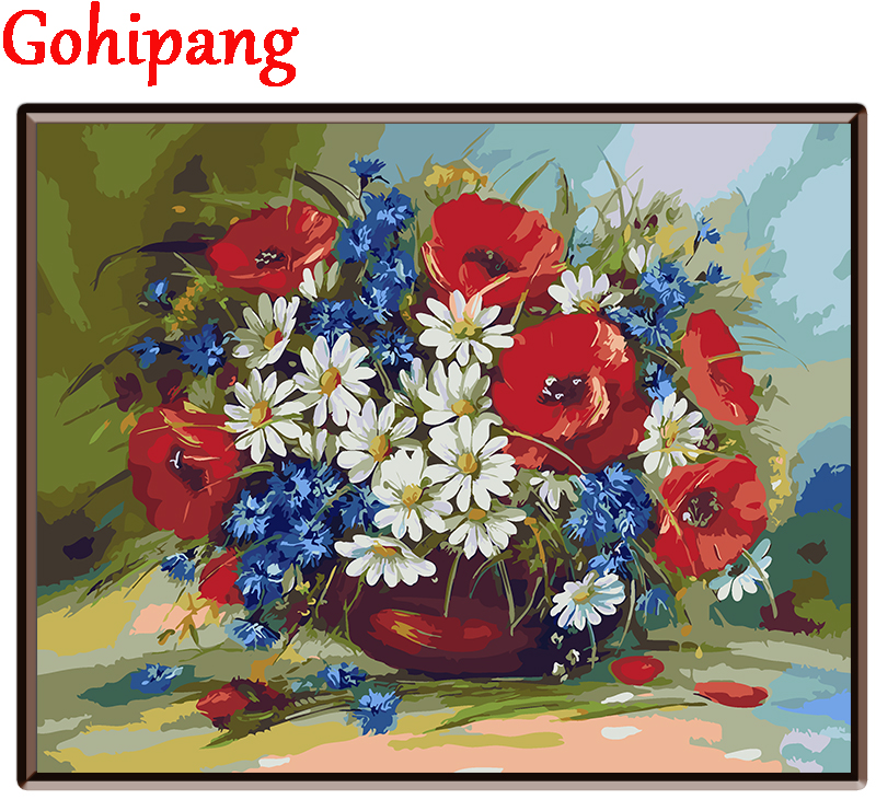 DIY Framed Oil Painting By Numbers Flowers Pictures Canvas ...