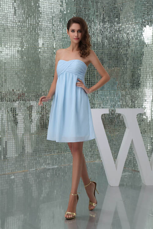 New Arrival Ruched Strapless Beach Chiffon   Bridesmaid     Dresses   Solid Pleat Short Wedding Party   Dresses   Prom Gown Vestidos
