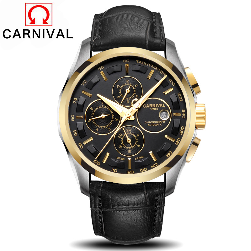 Carnival Top Brand Mens Automatic Watch Fashion Design 6 Hands Mechanical Clock Male Outdoor Sport Watches Waterproof 30MCarnival Top Brand Mens Automatic Watch Fashion Design 6 Hands Mechanical Clock Male Outdoor Sport Watches Waterproof 30M