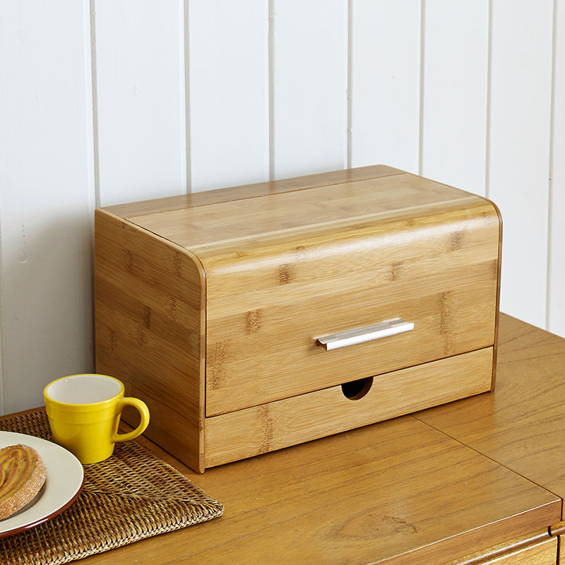 Dustproof Bread Box Bamboo Snacks Sundries Storage Boxs Solid Wood Creative With Drawer Kitchen Shelf In Bo Bins From Home Garden