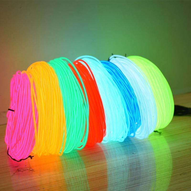 EL cable 2,3 MM 50/100/200/300/500M impermeable Flexible de luz de neón lámpara LED de neón de decoración de fiesta de baile de tubo de cuerda