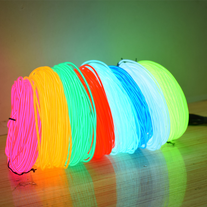 EL Wire 2.3MM 50/100/200/300/500M Waterproof Flexible Neon Light Glow Wire Rope Tube Dance Party Decor Neon LED Lamp