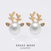 New Elegant Hot Sales Pairs Silver 925 Beads Fashion Christmas Pearl Deer Earrings Ear Stud fashion Jewelry Gift for Women SXHZZ