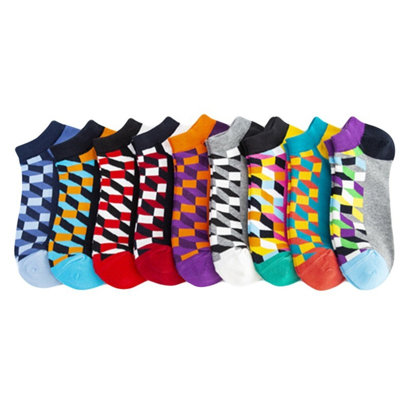 PEONFLY Men's Casual Novelty Colorful Summer Ankle Socks Happy Combed Cotton Short Socks Plaid Dress Boat Socks