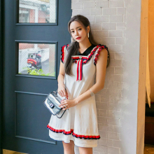 Preppy Style 2019 Summer Women Peter Pan Collar Corset Ruffles White Dress Korean Black Knitted Mini Club Dresses