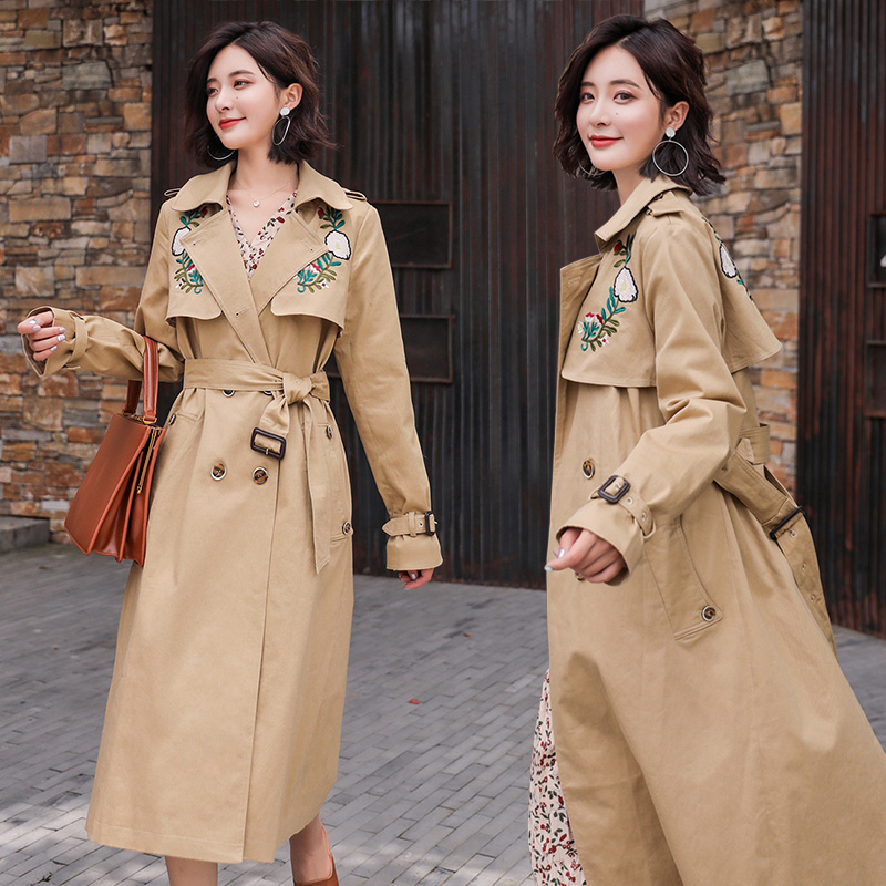 2019 new style   trench   coat for womelong trenchSimple personality solid color slim   trench   sleeve with belt Embroidered flower   trench   coat