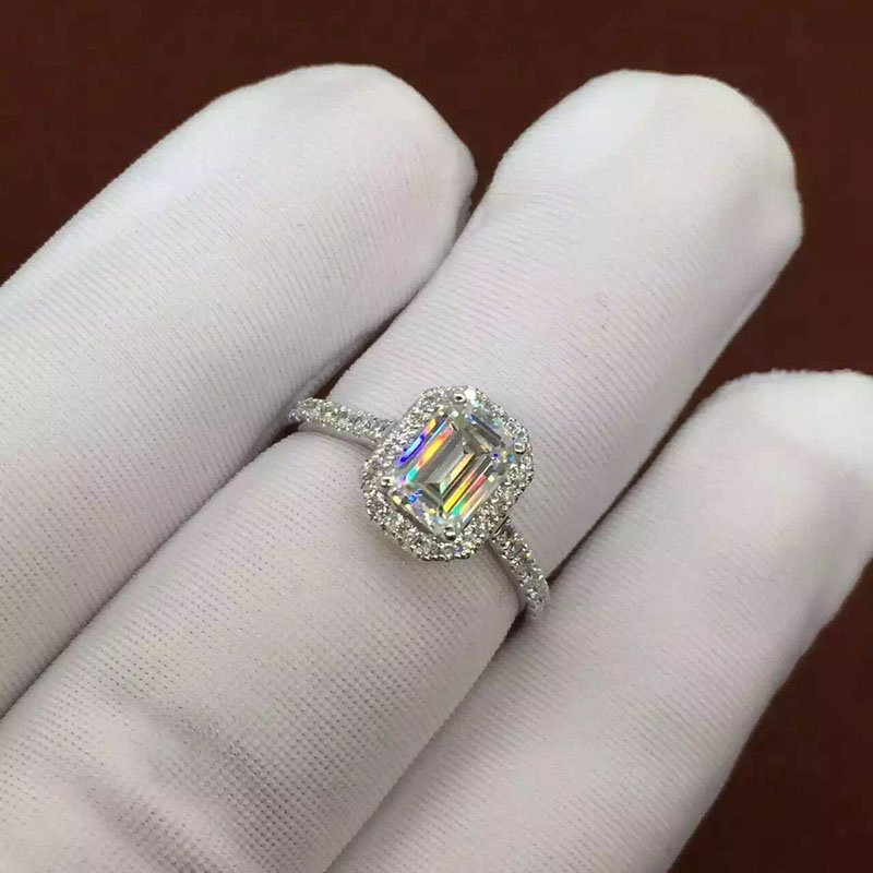 1 Carat Emerald Cut GH Color Halo Engagement&Wedding Lab Grown