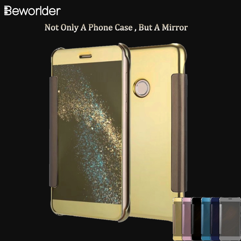 Beworlder For Huawei P8 Lite 2017 Window Clean View PU leather Flip Plastic Mirror Smart Touch Ultra For Huawei Honor 8 Lite
