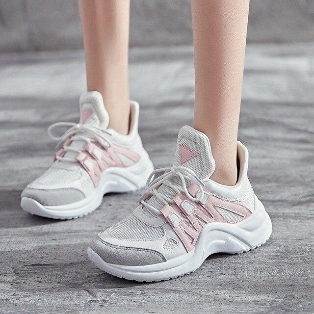 2018 Printemps Mode Femmes Maladroit Sneakers Tenis Feminino Casual  Chaussures de Marche En Plein Air Chaussures 38f0812af65